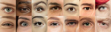 Set, Collage Of Different Types Of Male And Female Eyes. Concept Of Beauty, Mental Health, Ophtalmology, Cosmetology, Cosmetics. Beautiful Close Up Eyes Of 11 People With Different Colors And Emotions