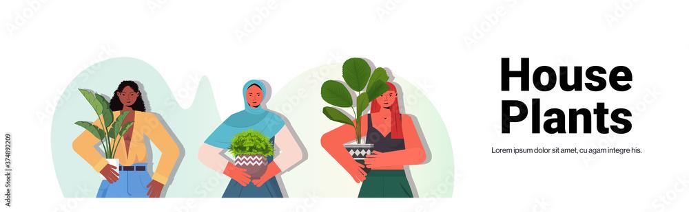 Fototapeta set women taking care of houseplants mix race housewives holding potted plants portrait copy space horizontal vector illustration
