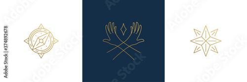 Papel de parede Vector line feminine decoration design elements set - star and female gesture ha