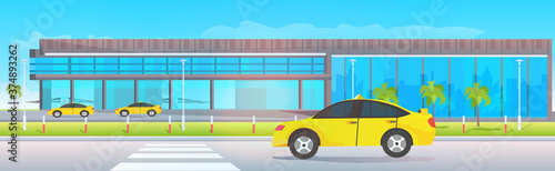airport terminal outside yellow taxi cabs near modern flight departure horizontal vector illustration
