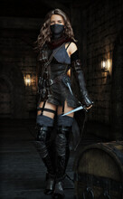 Mysterious Silent Rogue Assassin Female Closing In On Her Target . Fantasy 3d Rendering