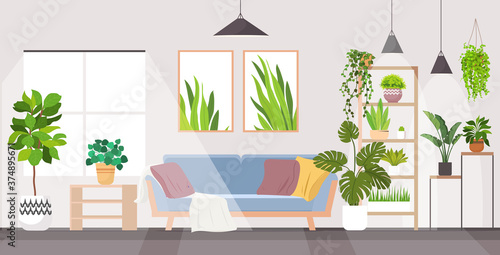 Fototapeta modern living room interior home apartment with houseplants horizontal vector illustration obraz