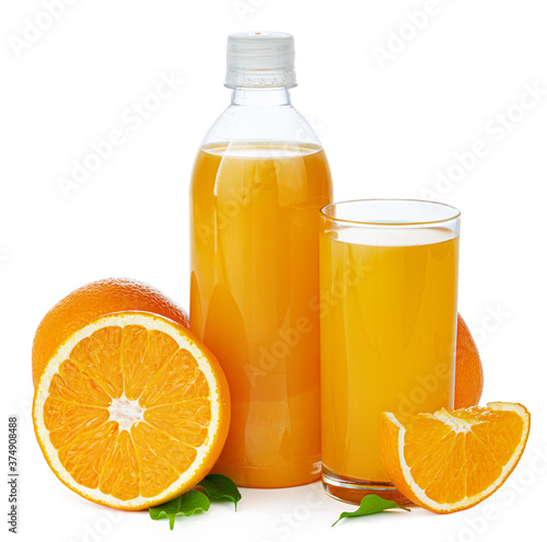 Bottle of fresh orange juice isolated on white Fototapete