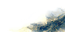 Abstract Fluid Art Painting Background Alcohol Ink Technique Deep Blue And Gold With Text Space For Banner, Background In Luxury Style.