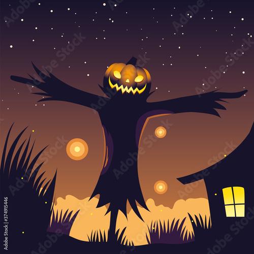 Fototapeta halloween night background with scarecrow
