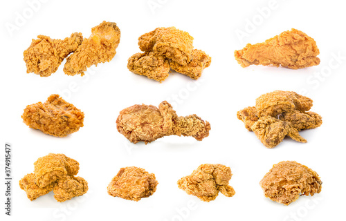 Fotografía Fried chicken isolated on white background.