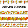 Set for autumn decoration. Seamless patterns for frames and borders. Hand drawn autumn leaves in doodle style. Vector elements for the design of Seasons cards, posters and banners.