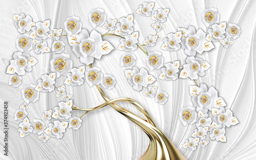 Do łazienki   3d-mural-wallpaper-abstract-gray-background-tree-with-golden-stem-and-flowers-will-visually-expand-the-space-in-a-small-room-bring-more-light-and-become-an-accent-in-the-interior