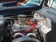 Exposed Hot Rod Engine At Car ...