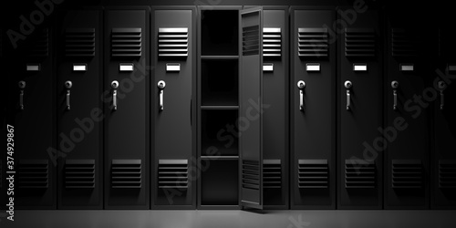 Fototapeta School, gym lockers, black color, one open door. 3d illustration