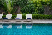 Deck Chair And Swimming Pool With Green Vertical Garden