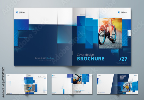 Fototapeta Square Report Cover Layout Set with Blue Dynamic Elements