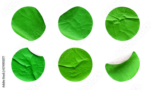 Fotografie, Obraz Blank green round adhesive paper sticker label set collection isolated on white
