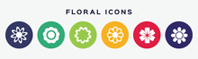 6 Circles Set With Floral Icon In Various Colors. Vector Illustration.