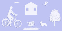 Rural Landscape - House, Tree, Woman On A Bicycle - Vector. Vacation Home. Camping.