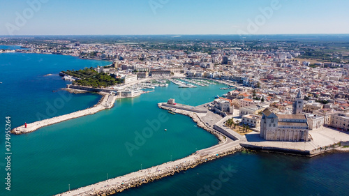 Fototapeta Aerial view of Trani in the southeastern region of Apulia in Italy - Entrance to