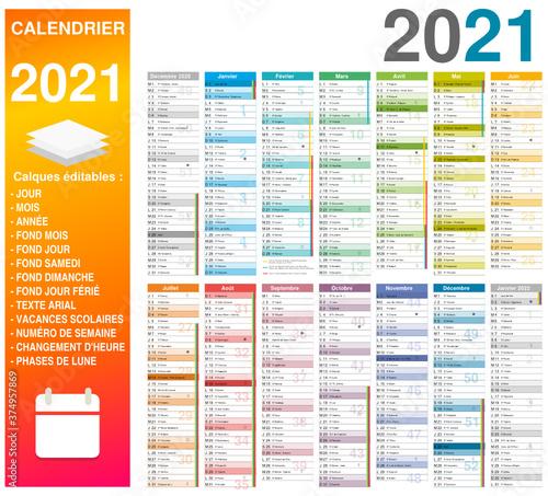 Fototapeta Calendrier 2021 14 mois avec vacances scolaires officielles 2021 2022 entièrement modifiable via calques et texte arial obraz
