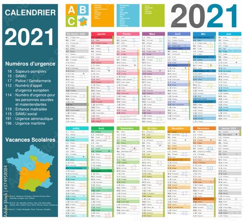 Calendrier 2021 14 mois avec vacances scolaires officielles 2021