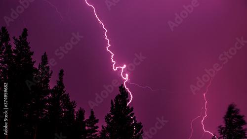 Fotografie, Tablou Bright bolt lightning in the dark purple sky against the forest background
