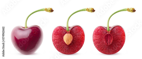 Fotografering Isolated cherries in a row