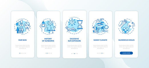 Skin cancer risk factors onboarding mobile app page screen with concepts. Numerous moles. History of sunburns. Walkthrough 5 steps graphic instructions. UI vector template with RGB color illustrations