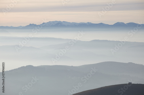 Mountain landscape with fog from Monte Grappa