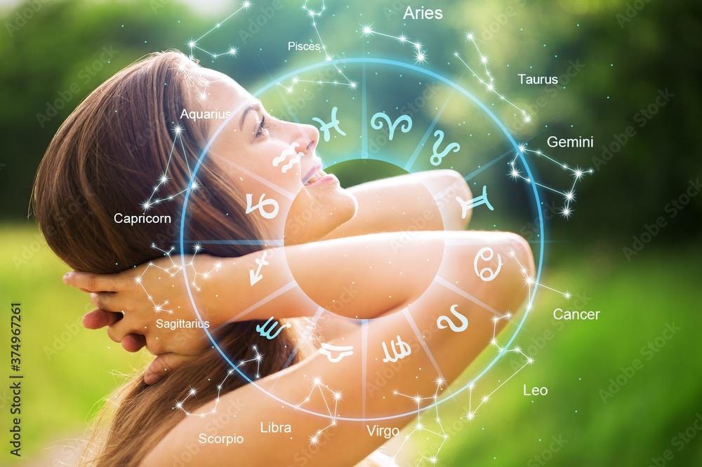 Fototapeta Horoscope astrology zodiac illustration with young wooman
