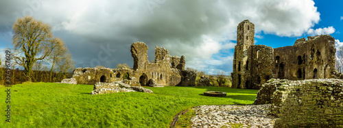 Photo A panorama view across the thirteenth-century castle at Llawhaden, Wales