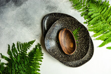 Rustic Place Setting With Fern Leaves