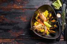 The Spanish Seafood Paella Wit...