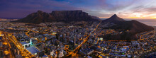 Panoramic Aerial View Of Cape Town Surrounded By Mountains At Night, South Africa