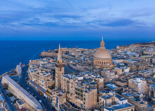 Aerial View Of The Valletta Skyline In Malta. Capital Of Malta