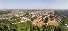 Panoramic Aerial View Of City Of Chernivtsi With Railway Station And National University Building (Yuriy Fedkovych / Franz-Josephs University, A UNESCO World Heritage Site), Ukraine