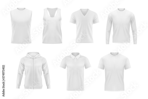 Obraz Men clothes vector tshirt, hoodie and polo shirt with singlet and longsleeve apparel mockup. Realistic 3d male garment and underwear white template. Blank clothing design, outfit isolated objects set - fototapety do salonu