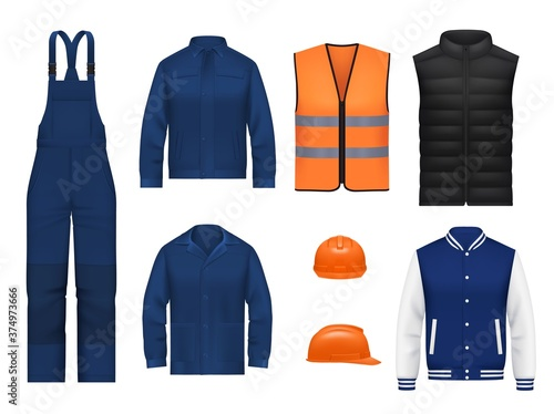 Obraz na płótnie Workwear uniform and worker clothes, vector realistic safety jackets and overall vests