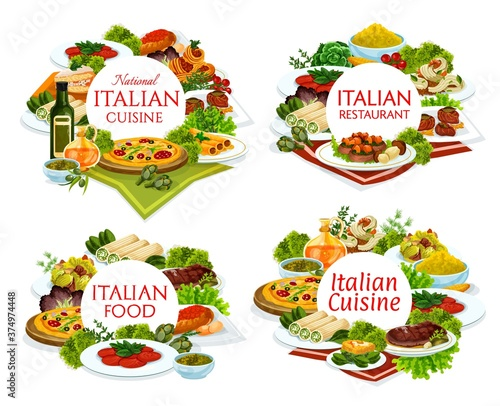 Italian cuisine restaurant dishes round banners Wallpaper Mural