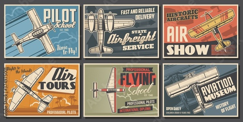 Aircraft museum, pilot school, aviation vector posters Canvas Print