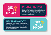 Did You Know Interesting Fact Label Sticker Set. Vector Illustration