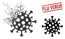Flu Virus Icon In Sparkle, Dot...