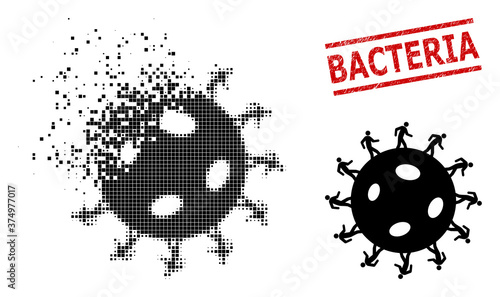Fototapeta Human virus icon in fractured, pixelated halftone style and Bacteria grunge stamp imitation