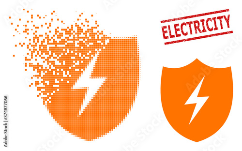 Fototapeta Electric shield icon in sparkle, dotted halftone style and Electricity dirty seal