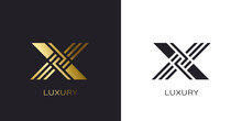 X Alphabet Letter Stripe Style In Gold Color