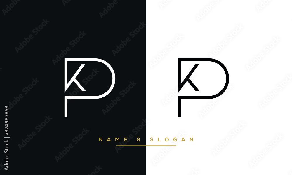 Fototapeta KP, PK, K, P Abstract Logo Monogram Template