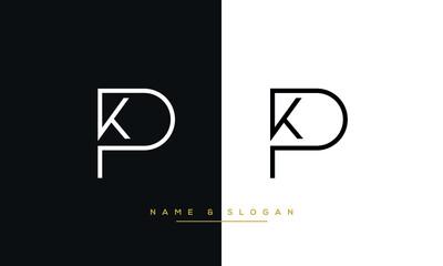 KP, PK, K, P Abstract Logo Monogram Template