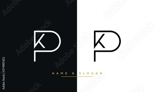 Obraz KP, PK, K, P Abstract Logo Monogram Template - fototapety do salonu