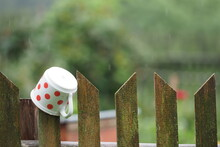 Rural Fence With A Cup With Red Polka Dots