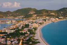West Indies, Caribbean, Lesser Antilles, Leeward Islands, St Martin / Sint Maarten, Netherlands Antilles, Elevated View Over Great Bay And The Dutch Capital Of Philipsburg