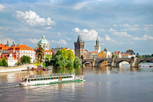 View Of The River Vltava, Charles Bridge And The Old Town District, Prague, Czech Republic