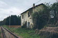 Old Abandoned Station On The Railway
