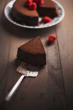 Chocolate Cake And Raspberries.